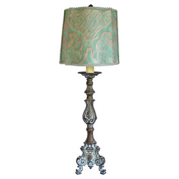 Bronze French Lamp w/ Fortuny Shade