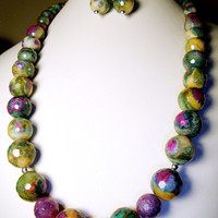 Faceted Ruby Fuchsite Necklace in Sterling Silver with Ruby Fuchsite Earrings*