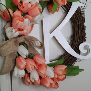 Large Tulips Wreath Spring Wreath Tulips Mother's Day Wreath Easter Wreaths Orange Tulip Monogram Wreath Front Door Decoration