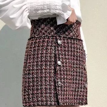 Red High Waist Double-breasted Wool Blend Mini Skirt