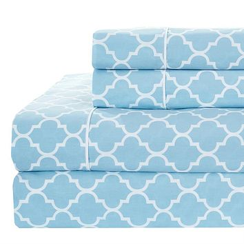 California king Blue/White Printed Meridian Percale Sheets