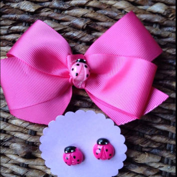 Pink Lady Bug Hair Bow Set Matching Earrings