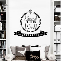 Wall Decal Quotes Around The World Adventure Compass Design Wall Decals Bedroom Living Room Library Hotel Cabinet Hostel Home Decor 3864