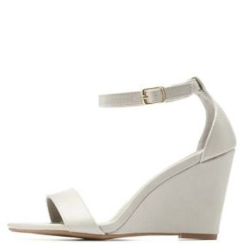 Gray Single Strap Wedge Sandals by Charlotte Russe