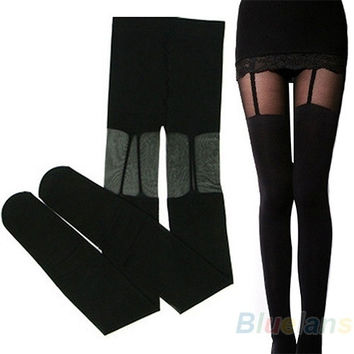 Fashion Stretchy Stockings Sweety Black Leggings Socks/w Decorated Garters, sexy = 1932779332