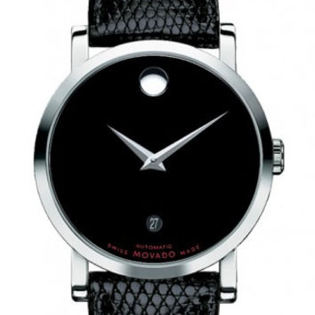 Movado Red Label Museum Classic Stainless Steel Case Automatic Men's Black Lizard Strap 38mm Watch 0606114