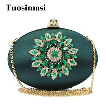 luxury green color round oval shape satin with crystals clutch chain shoulder bag women dinner purses (C102)
