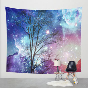 Magical wall tapestry/Sky wall tapestry/Space wall tapestry/Wall decoration/Dorm decor/Interior decor/Moon wall tapestry/Fantasy tapestry
