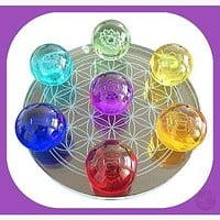7 Chakra Flower of Life set Crystal Balls - 55mm