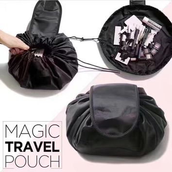 Unisex Handy Drawstring Cosmetic Magic Travel Pouch Make-Up Bag