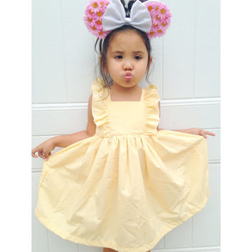 Peach flutter ruffle dress birthday dress toddler dress summer dress fall dress