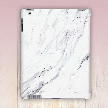 White Marble Print iPad Case For - iPad 2, iPad 3, iPad 4 and iPad Mini, Fine Art Hard Case