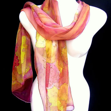 Silk Scarf Hand Painted Grapevine In Fall Plum Brown Lime Green Multicolor Vibrant Art Nouveau Rustic