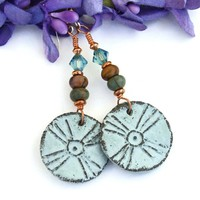 Tribal Sun Cross Handmade Earrings, Rustic Ceramic Jasper Swarovski Dangle Jewelry