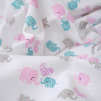 3225 - Elephant Heart Cotton Jersey Knit Fabric - 66 Inch (Width) x 1/2 Yard (Length)