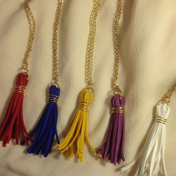 Gameday Necklace, Gold and Purple tassle necklace, red tassle, white tassel, blue tassel, game day, LSU, long, tassle necklace, gold chain