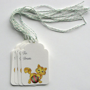 Christmas Yellow Cat, Holiday tags, gift tags, gift tags, christmas gift tags, hang tags, paper tags, gift packaging