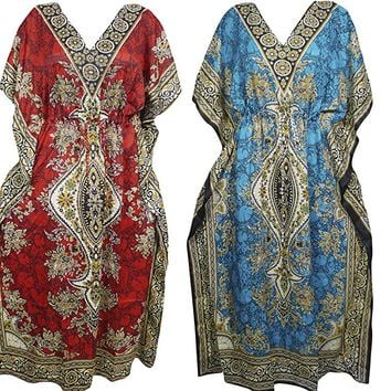 Mogul Interior 4Pc Womens Caftan Maxi Dress Kimono Dashikli Printed Boho Coverup One Size