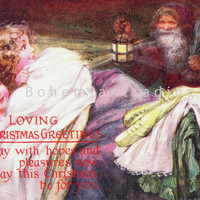 Antique Christmas Postcard. Children Seeing Father Christmas. Old World Santa Claus. Christmas Eve. 1910's Tuck Oilette Artist Signed.