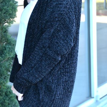 Choose To Be Chenille Cardigan - Black