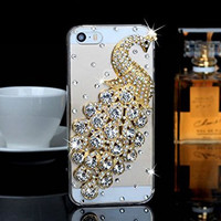 "iPhone 6 Plus Case, MC Fashion Peacock Crystal Rhinestone 3D Diamante Hard Shell Phone Case Compatible for Apple iPhone 6 Plus 5.5"" (2014) ONLY (Silver)"
