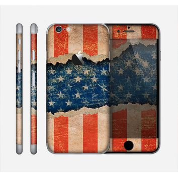 The Scratched Surface Peeled American Flag Skin for the Apple iPhone 6