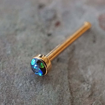 Black Opal Rose Gold Nose Bone Rose Gold Nose Stud Nose Ring