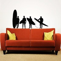 Wall Decals Surfer Surfboard Waves Sea Beach Extreme Sports Gift Kids Nursery Wall Vinyl Decal Stickers Bedroom