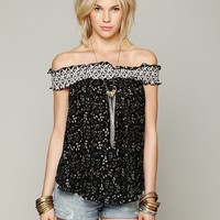Free People Printed Off The Shoulder Top