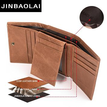 Men Trifocals Genuine Leather Wallet Vintage RAID Blocking Wallet Credit Cards Holder Organizer Wallet With Hasp Purse