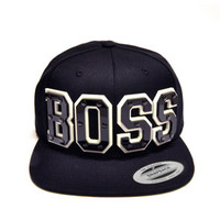 BOSS Black Acrylic Letters Snapback in Black