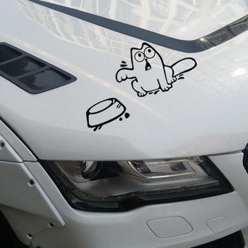 Funny Cat Car Stickers and Decals Car Window Decor Universal For Auto Car/Bumper/Window 8.3CM x 3.3cm Auto Motorcycle Sticker