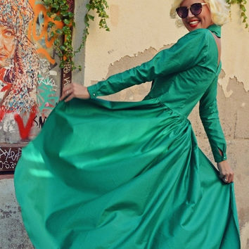 ON SALE 25% OFF Extravagant Emerald Cotton Top / Fantasy Flared Cotton Blouse / Emerald Tailed Blouse / Fabulous Cotton Tunic Tt96 / La Ramb