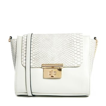 ASOS Snake Panel Cross Body Bag with Square Lock