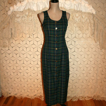 Vintage Tartan Plaid Jumper Dress Green Plaid Dress Winter Dress Fitted Dress Button Up Dress Size 4 Dress Small Vintage Womens Clothing