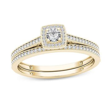 1/3 CT. T.W. Diamond Cushion Frame Vintage-Style Bridal Engagement Ring Set in 14K Gold