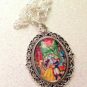 Beauty And The Beast Stain Glass Window Necklace