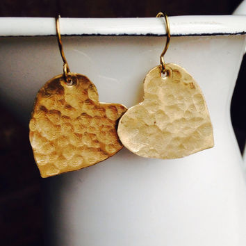 Etsy, Etsy Jewelry, Heart Earrings, Brass Earrings, Hammered Earrings, Metalwork Earrings, Valentine Earrings, Unique, Kitschy