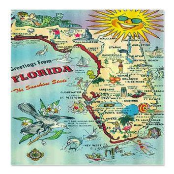 Vintage Florida Greetings Map Shower Curtain> Coastal, Vintage and Urban Chic Shower Curtains> Rebecca Korpita Coastal Design