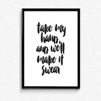 "BON JOVI lyric art""Take My Hand And We'll Make It I Swear""juke blox song,gift idea,best words,hand lettering,lyric typography,home decor"