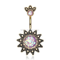 Golden Antique Tribal Sun God Opal Sparkle Belly Button Ring (Purple)