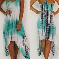 White Green Irregular Draped Tie Dye Spaghetti Strap Flowy Beach Boho Maxi Dress