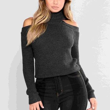 LMFON1O Nayla Cold Shoulder Sweater - Charcoal Grey Day First