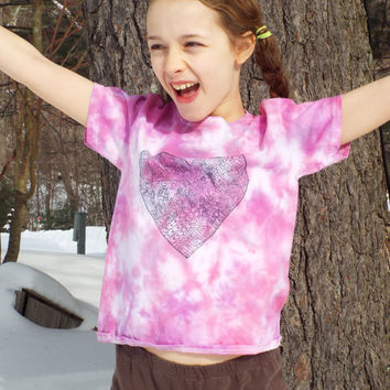 Zentangle Heart- Girl Valentine Shirt- Girls Heart Shirt- Girls Heart Tshirt- Girls Tie Dye Shirt- Girls Valentines Outfit - Kids S (6-8)