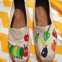 The Very Hungry Caterpillar hand-painted TOMS (ADULT)