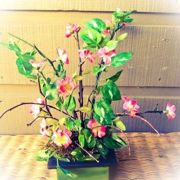 Handmade Artificial Floral Arrangement: Pink Flowers with Ivy and Tree Branches in Green Ceramic Pot (handmade)