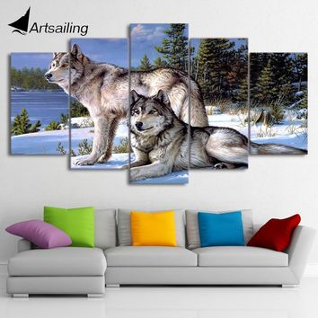 5 Pieces Canvas Art Painting Printed Wolfs in the snow winter Wall Art