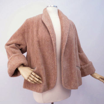 Vintage 50s Cropped Jacket  by Peck and Peck Tan Camel Jacket Brown Wool Bell Sleeves M L