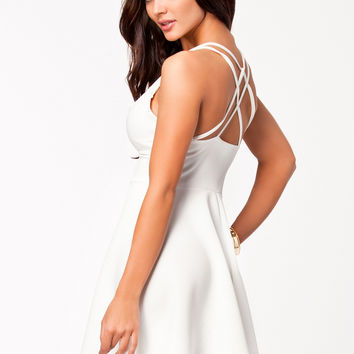 White Plain Strappy Crisscross Back Skater Dress