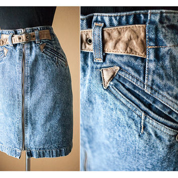 Vintage Acid Washed Denim Skirt | Blue Jean Skirt | Pencil Skirt | High Waisted Skirt | Mini Skirt 80s skirt Festival Skirt Western Grunge